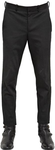 Alexander McQueen 17cm Stretch Cotton Gabardine Trousers - Lyst