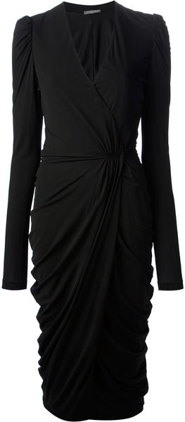 Alexander McQueen Draped Jersey Dress - Lyst