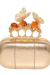 Alexander McQueen Laminated Whipsnake Knucklebox Clutch