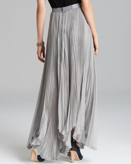 maxi skirt pleated in gray grey lyst