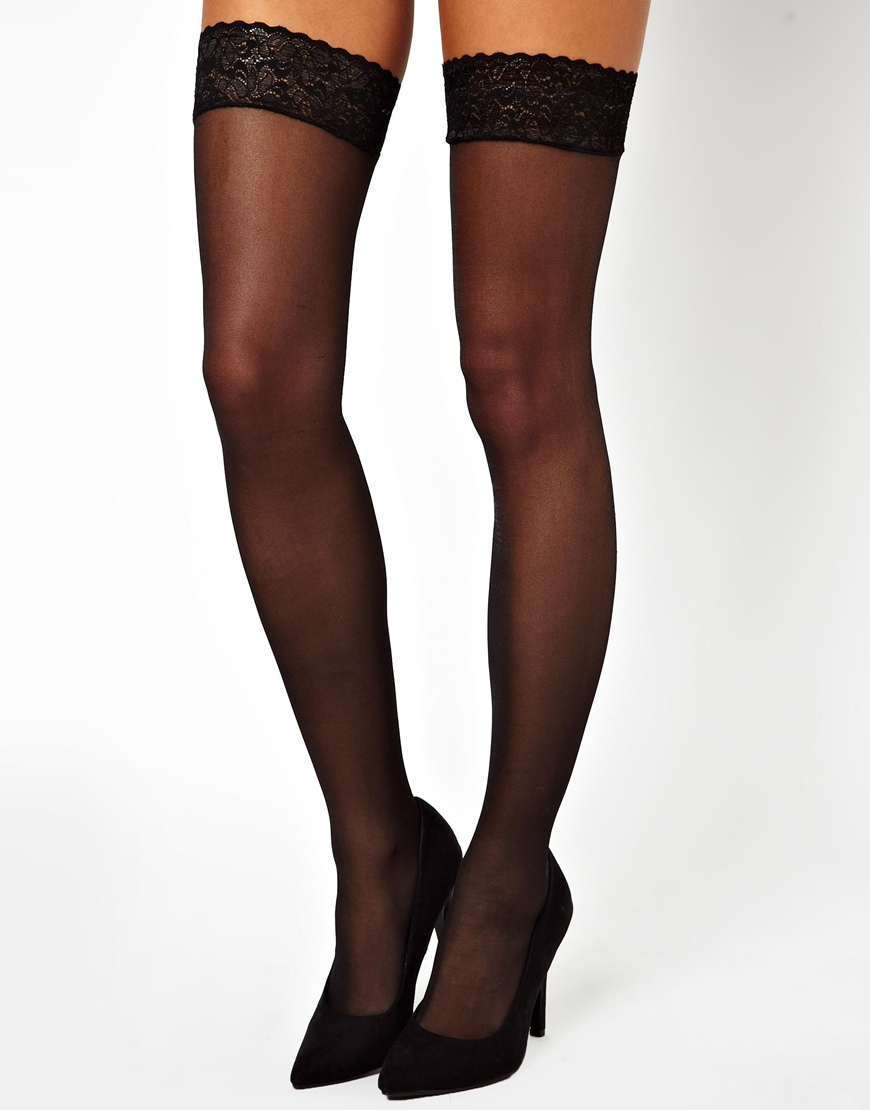 004ceb6767531 ASOS Heart Back Seam Hold Up Tights in Black - Lyst
