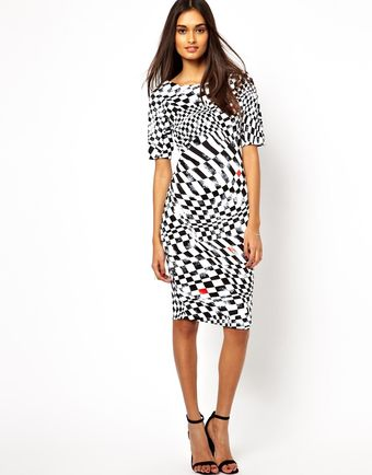 Ax Paris Midi Bodycon with Short Sleeves - Lyst