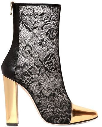 Balmain 110mm Mesh Lace Metallic Toe Boots - Lyst