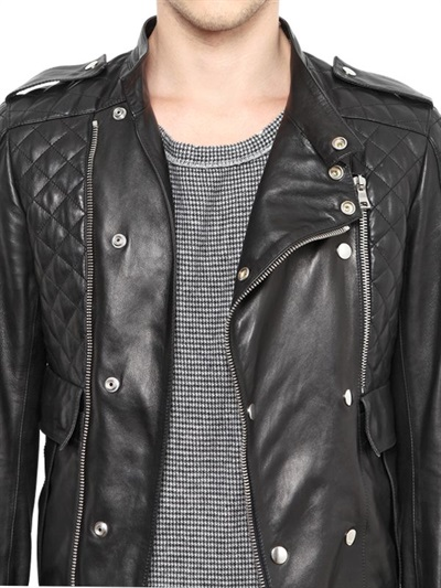 Balmain Quilted Leather Biker Jacket in Black for Men | Lyst : mens quilted leather biker jacket - Adamdwight.com