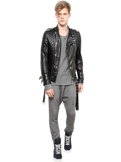 Balmain Quilted Leather Biker Jacket In Black For Men Lyst