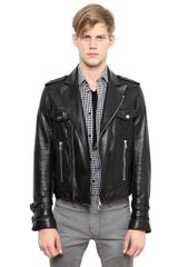 Balmain Washed Soft Leather Biker Jacket - Lyst