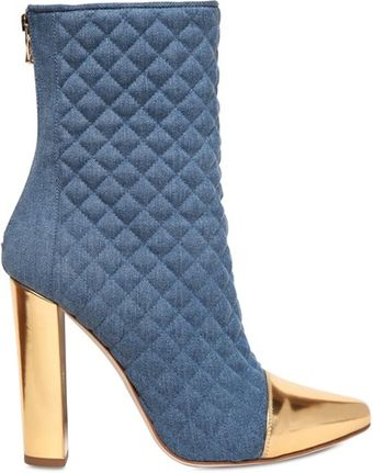 Balmain 110mm Quilted Denim Boots - Lyst