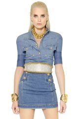 Balmain Short Sleeved Cotton Denim Shirt - Lyst