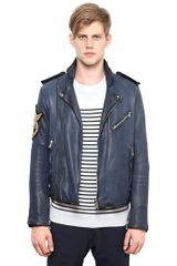 Balmain Washed Leather Biker Jacket - Lyst