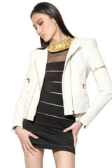 Balmain Quilted Nylon Down Biker Jacket - Lyst