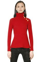 Balmain High Neck Wool Knit Sweater - Lyst