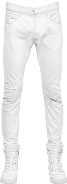 Balmain 17cm Washed Ripped Cotton Denim Jeans - Lyst