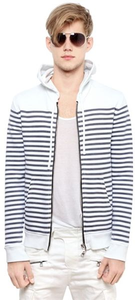 Balmain Hooded Striped Cotton Fleece Sweatshirt - Lyst