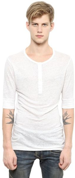 Balmain Linen Jersey Henley T Shirt In White For Men Lyst