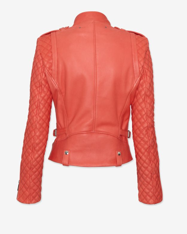 Barbara Bui Exclusive Moto Leather Jacket Coral In Pink Lyst