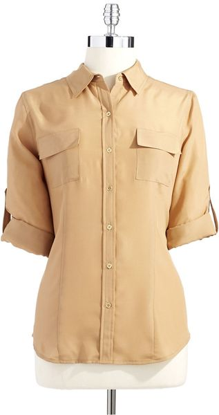 Calvin Klein Button Down Blouse - Lyst
