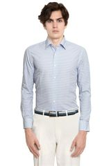Canali Printed Cotton Poplin Slim Fit Shirt - Lyst