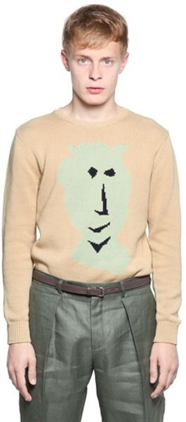 Carven Van Gogh Print Cotton Knit Sweater - Lyst