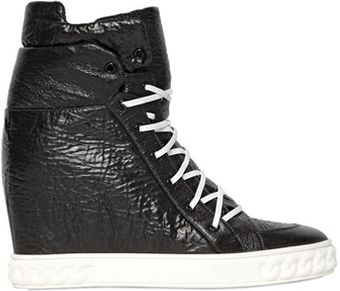 Casadei 90mm Laminated Wedged Sneakers - Lyst
