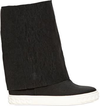 Casadei 90mm Tech Cotton Wedged Boots - Lyst