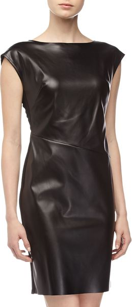 Catherine Malandrino Leather Front Dress  - Lyst
