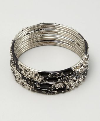 Chamak By Priya Kakkar Set Of Four Black Metal and Crystal Bangles - Lyst