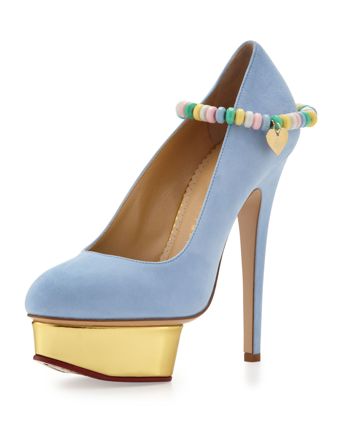 charlotte olympia sweet dolly pump with candy anklet in blue baby blue lyst. Black Bedroom Furniture Sets. Home Design Ideas