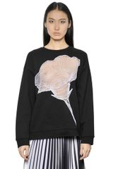 Christopher Kane Flower Cobweb Cotton Fleece Sweatshirt - Lyst