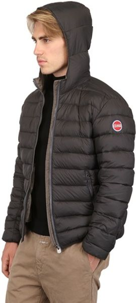 colmar originals quilted nylon hooded down jacket in gray for men dark grey grey lyst. Black Bedroom Furniture Sets. Home Design Ideas