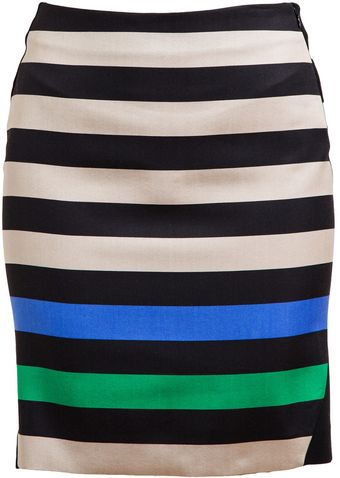 Diane Von Furstenberg Mae Mikado Striped Wool Silk Mini Skirt - Lyst