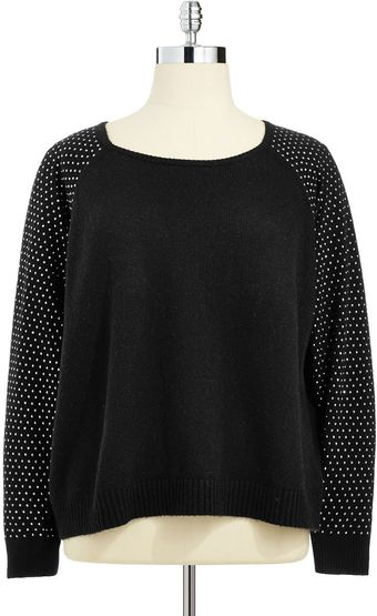 DKNY Plus Sweater with Studded Sleeves - Lyst