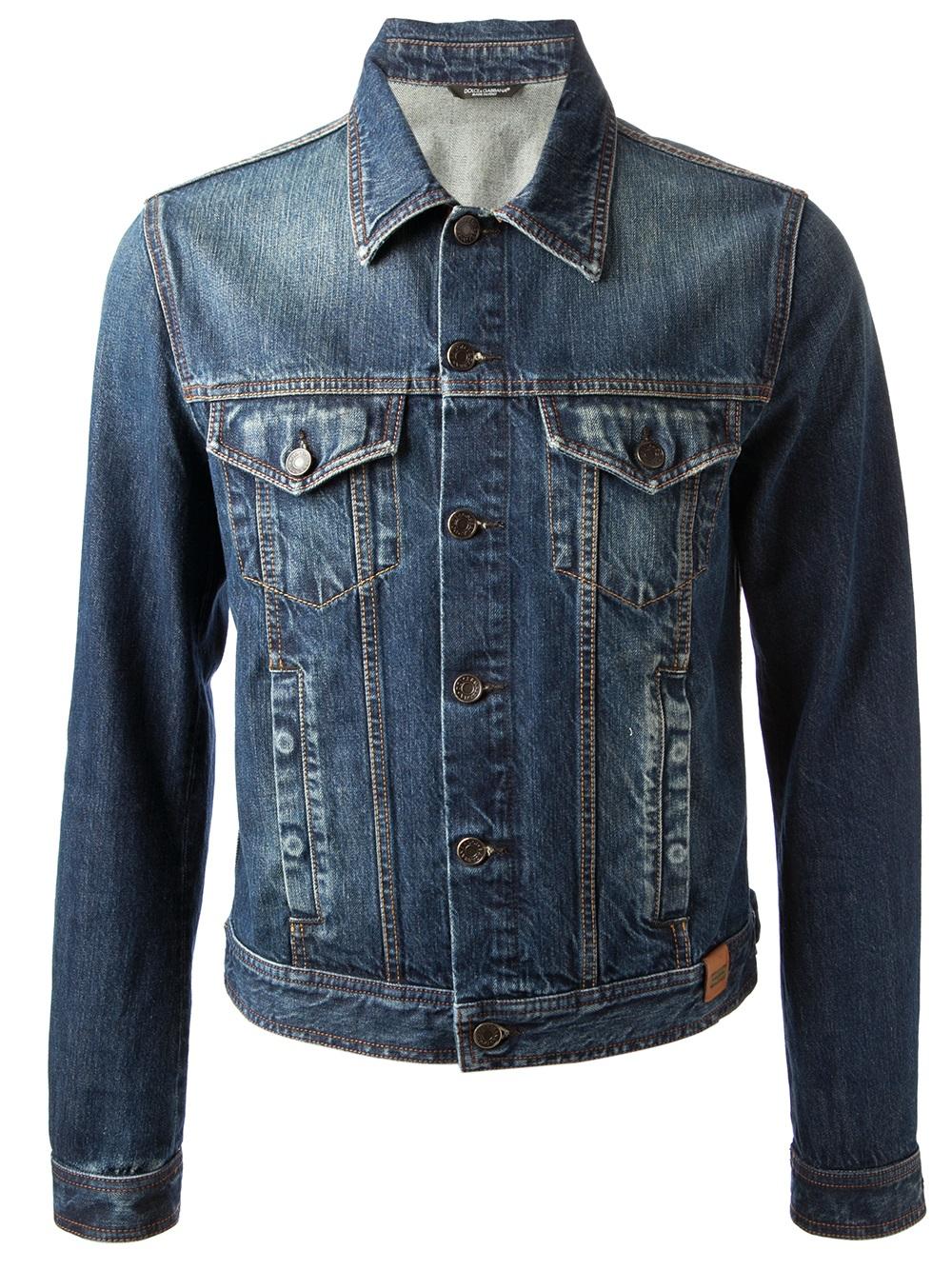 lyst dolce gabbana denim jacket in blue for men. Black Bedroom Furniture Sets. Home Design Ideas