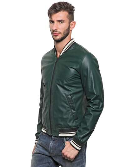 Dolce & gabbana Soft Nappa Leather Bomber Jacket in Green for Men ...