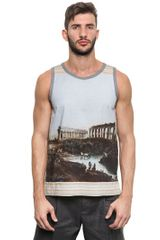 Dolce & Gabbana Printed Cotton Blend Tank Top - Lyst