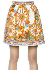 Dolce & Gabbana Viscose Cotton Brocade Effect Skirt - Lyst