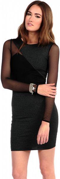 Donna mizani long sleeve splice holiday dress in black heathered