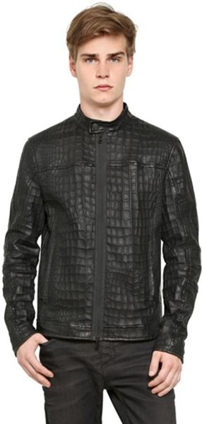 Drome Perforated Croc Print Leather Jacket - Lyst