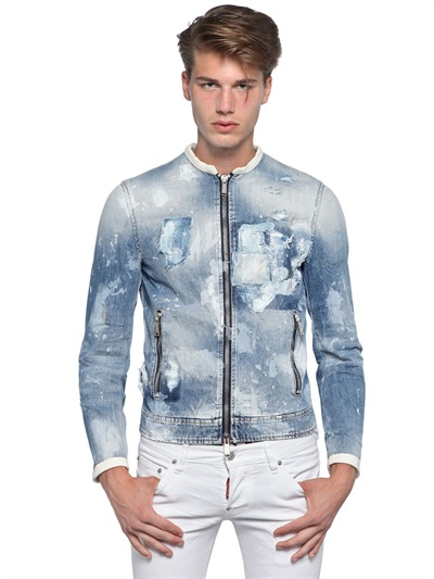 Dsquared² Ripped Denim and Leather Bomber Jacket in Blue for Men ...