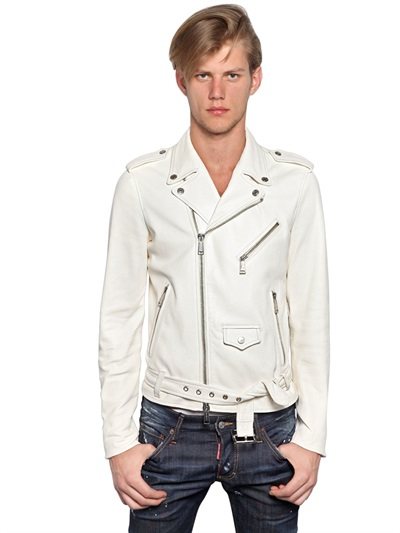 Dsquared 178 Soft Leather Biker Jacket In White For Men Lyst