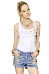 DSquared2 Embroidered Cotton Jersey Tank Top - Lyst