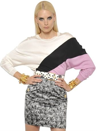 Emanuel Ungaro Colour Block Wool Silk Knit Top - Lyst