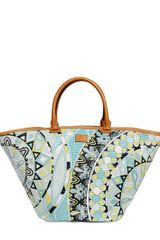 Emilio Pucci Printed Placed Raffia Top Handle - Lyst