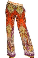 Etro Printed Silk Georgette Trousers - Lyst