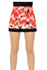 Fausto Puglisi Silk Twill High Waisted Palm Skirt - Lyst