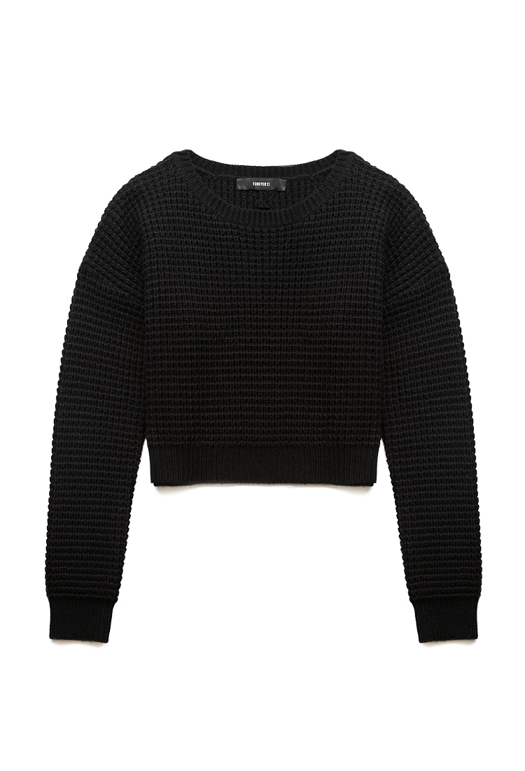 Forever 21 Cozy Cropped Sweater in Black | Lyst