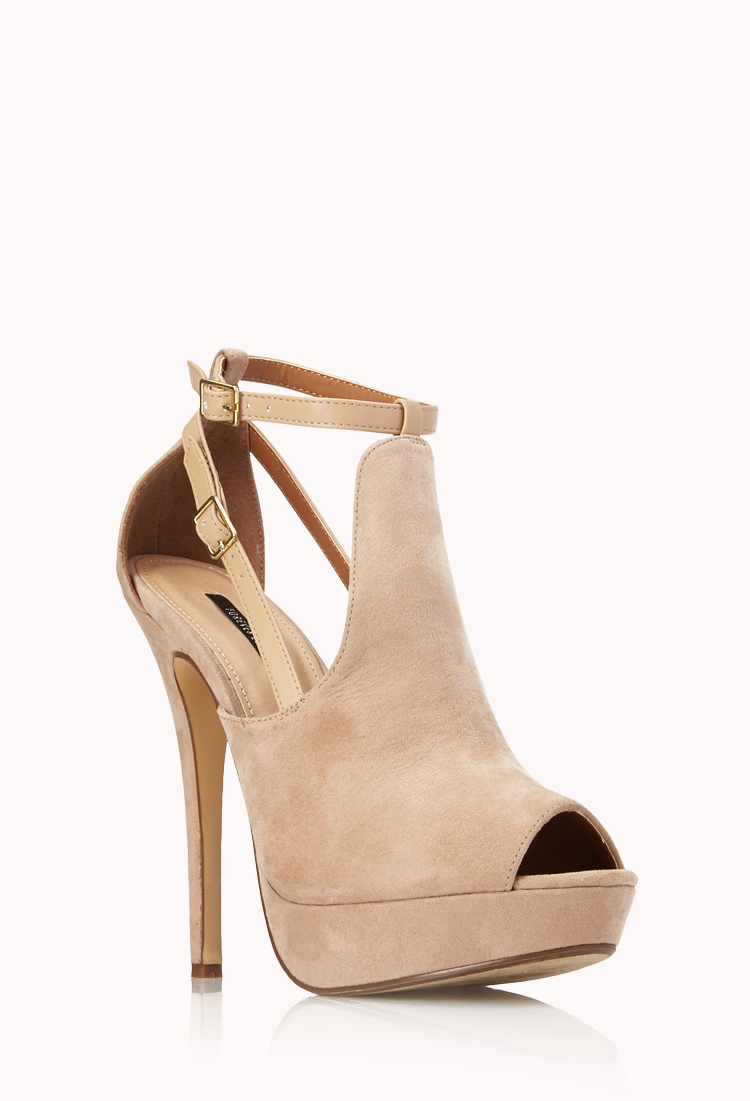 Forever 21 Refined Peeptoe Platforms In Gray Lyst