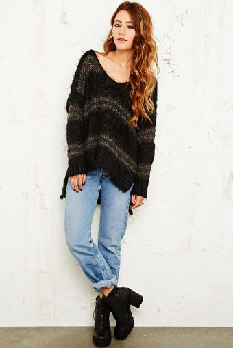 Free People Linus Stripe Jumper in Black - Lyst
