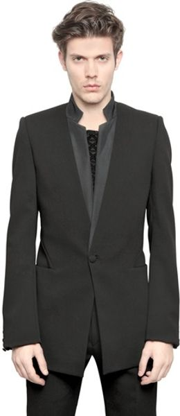 Gareth Pugh Crepe Wool One Button Jacket - Lyst