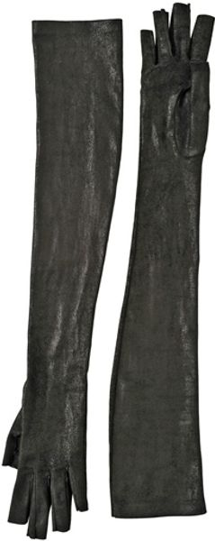 Gareth Pugh Destroyed Raw Cut Stretch Leather Gloves - Lyst