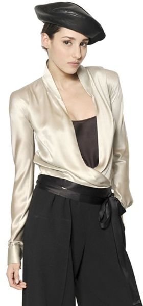 Giorgio Armani Silk Satin Shirt with Sash - Lyst